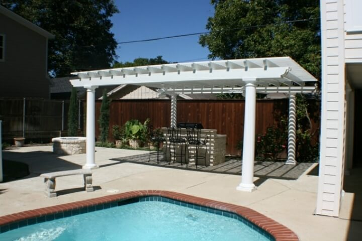 01 Outdoor landscaping ideas with swimming pool pergola