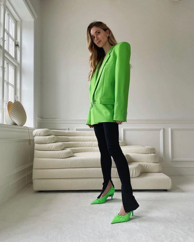 01 With a neon green blazer
