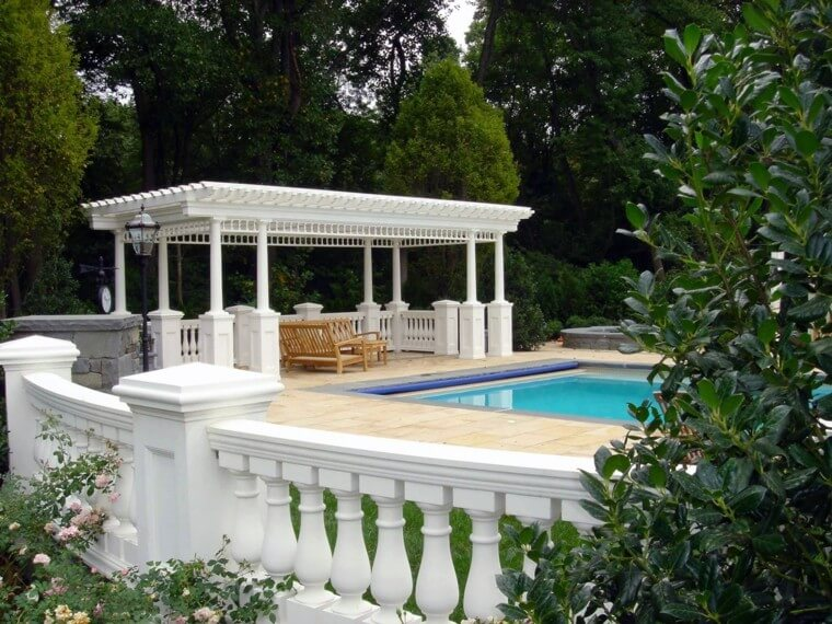 02 Outdoor landscaping ideas with swimming pool pergola