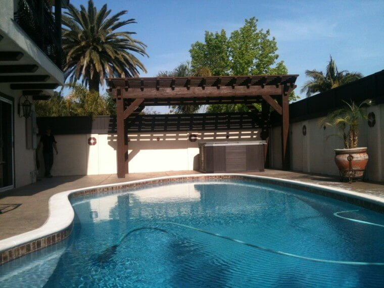 03 Outdoor landscaping ideas with swimming pool pergola