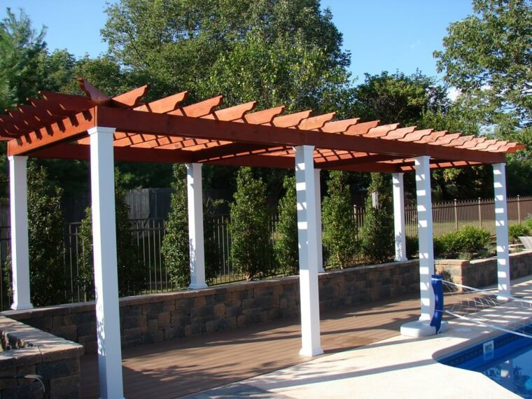 06 Outdoor landscaping ideas with swimming pool pergola