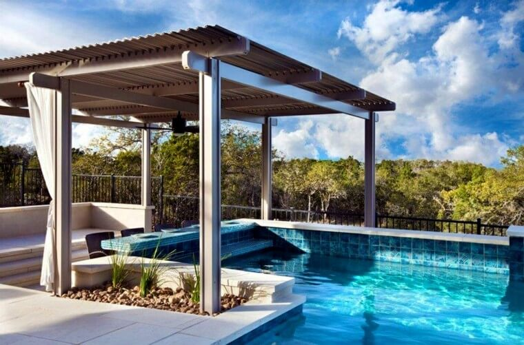 09 Outdoor landscaping ideas with swimming pool pergola