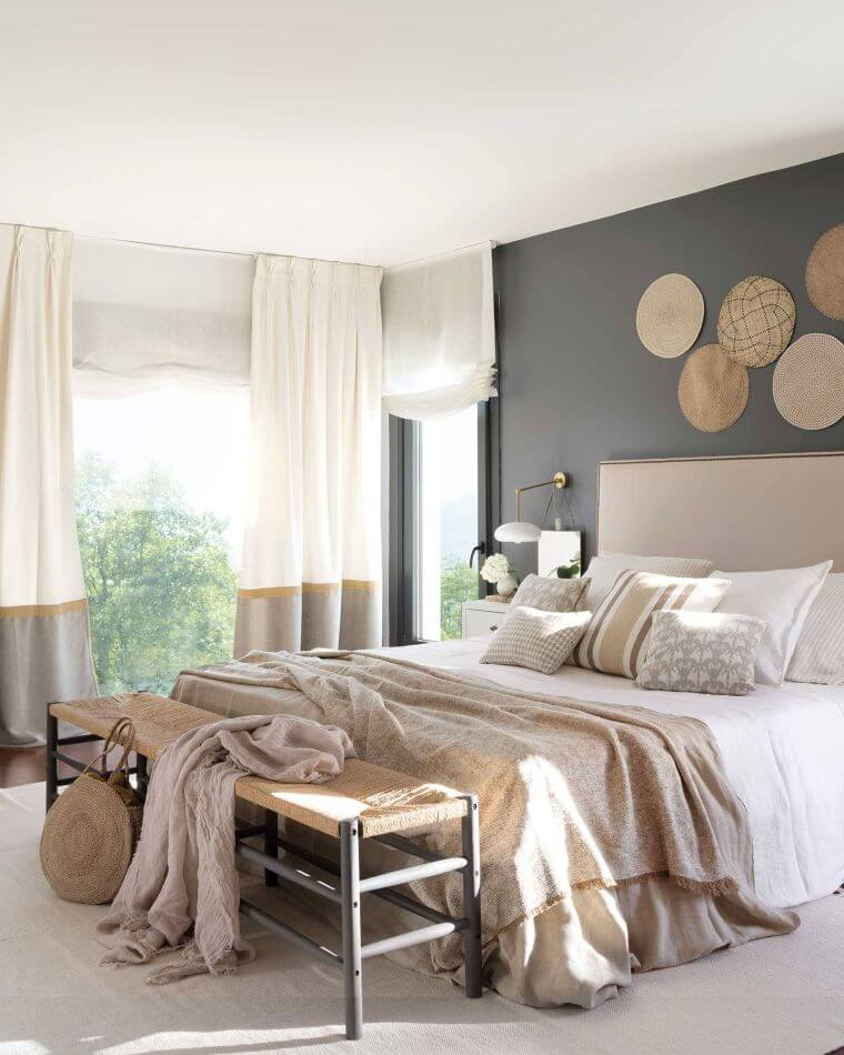 09. Modern bedroom decoration with accent wall in gray