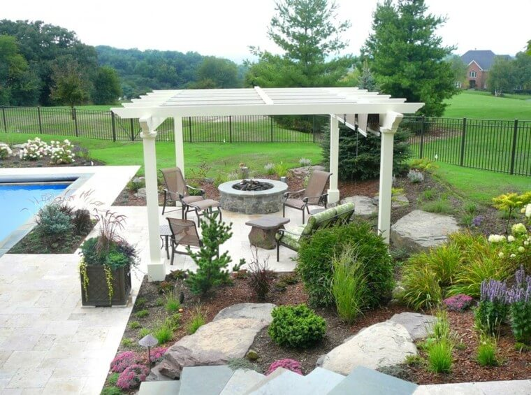 10 Outdoor landscaping ideas with swimming pool pergola