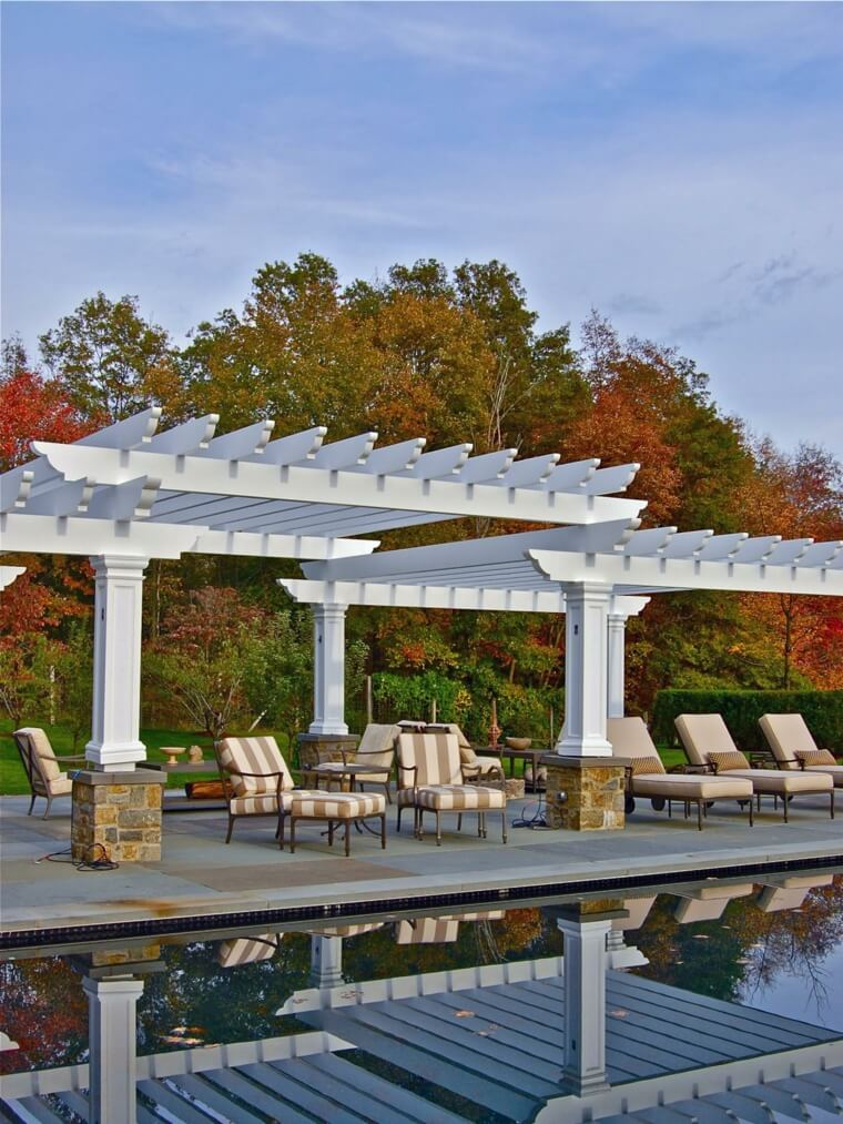 12 Outdoor landscaping ideas with swimming pool pergola