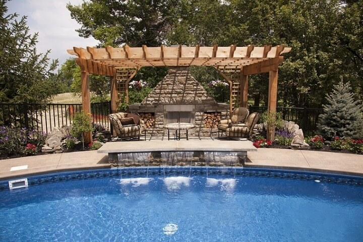 16 Outdoor landscaping ideas with swimming pool pergola
