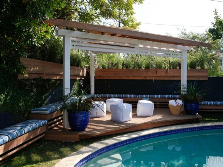 18 Outdoor landscaping ideas with swimming pool pergola
