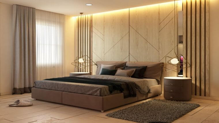 19. Trendy bedroom decoration 2021 with beautiful wooden accent wall and designer lighting fixtures