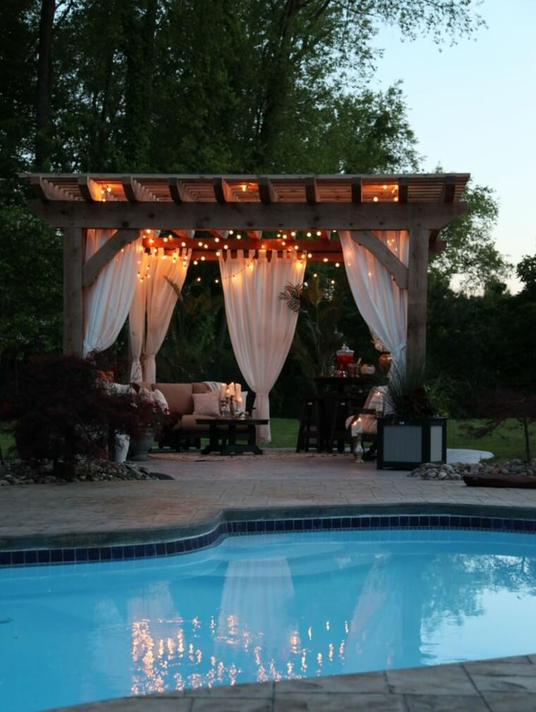20 Outdoor landscaping ideas with swimming pool pergola