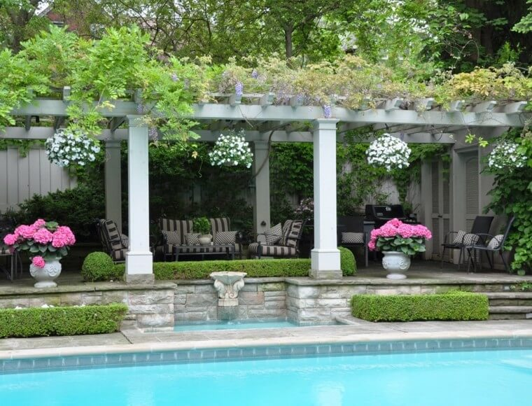 23 Outdoor landscaping ideas with swimming pool pergola