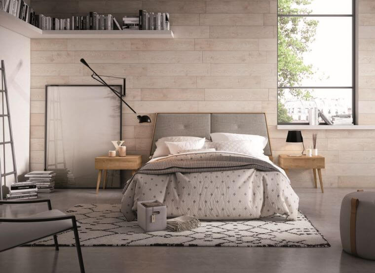 23. Modern bedroom with interesting wall covering and high wall shelf
