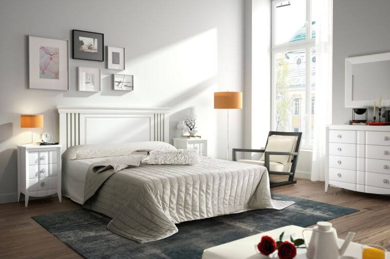 25. If you want to have an all-white bedroom, opt for a few touches of color to make the decor more interesting
