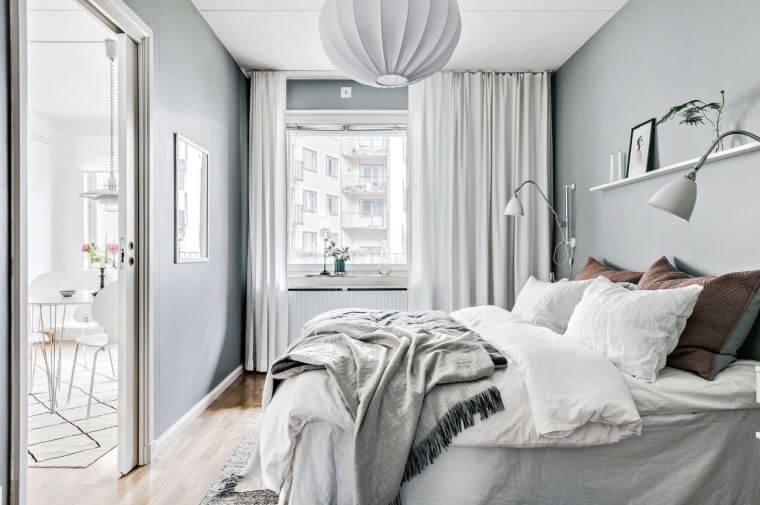 29. Small bedroom decorating idea in light gray