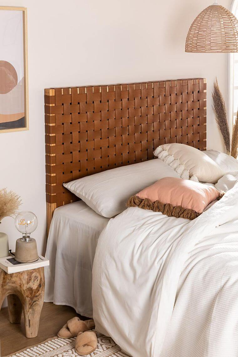 33. Woven furniture is very trendy in 2021, as seen here with this interesting headboard