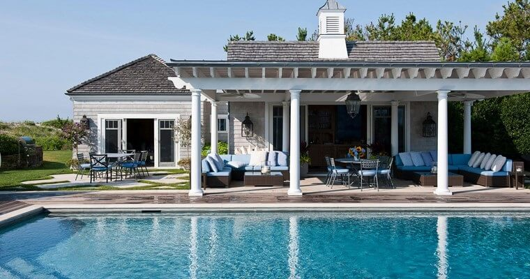 34 Beautiful white pergola with vintage lighting and large terrace