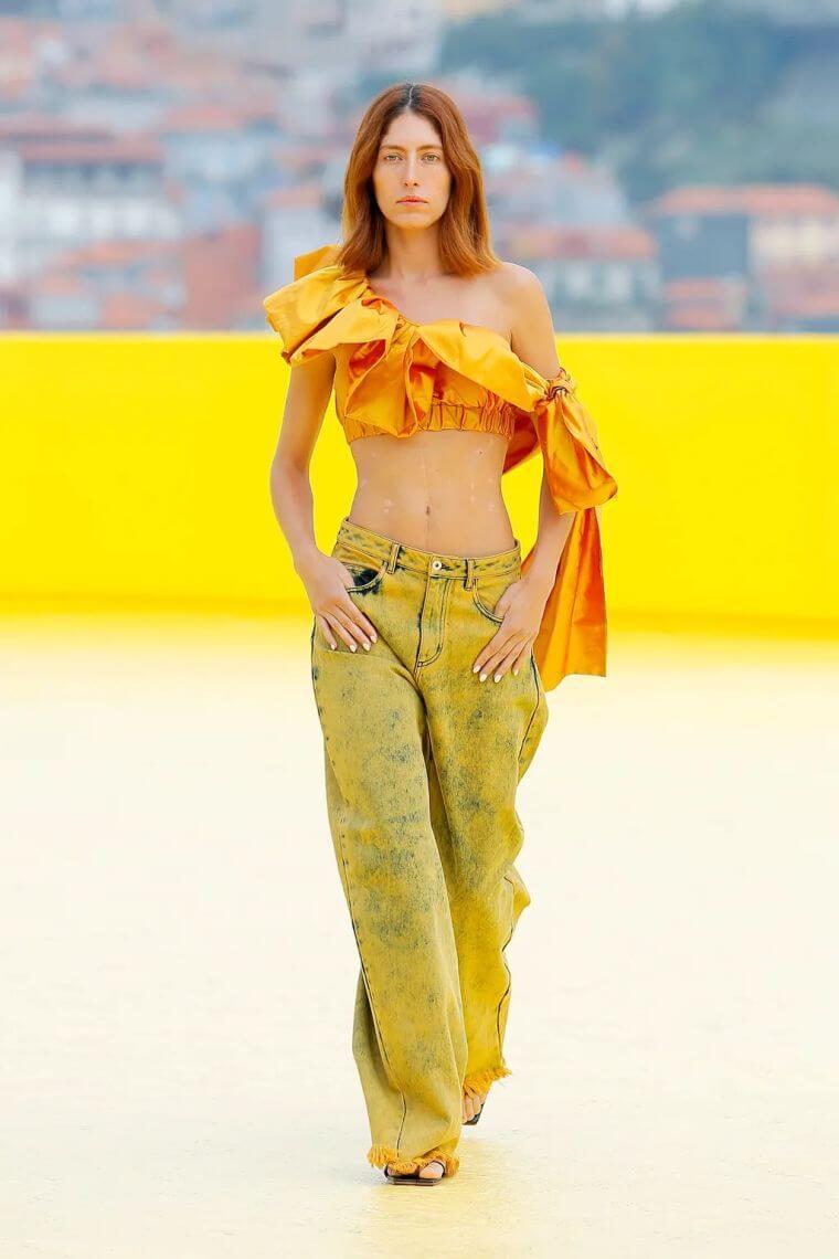 34. Wide jeans worn with original bralette in orange