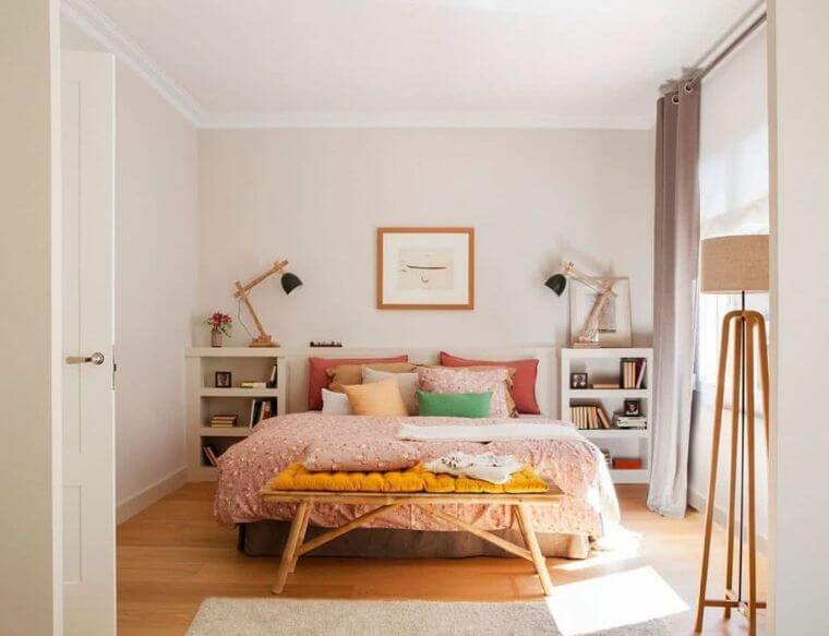 37. Here is another adult bedroom decorated in a powder pink shade