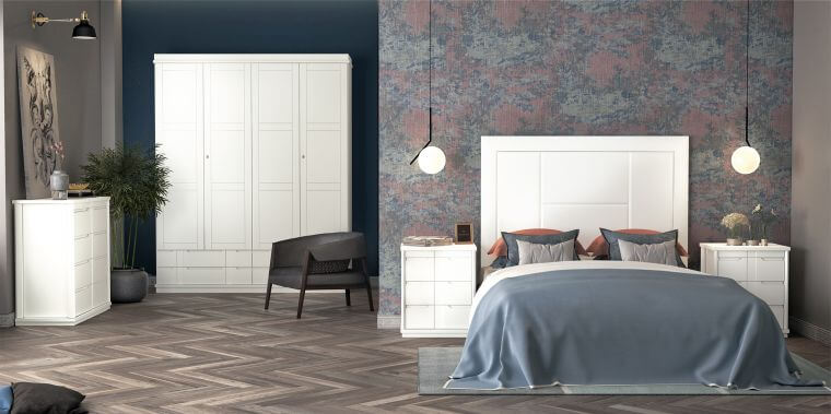 38. Modern adult bedroom with accent wall decorated with floral wallpaper