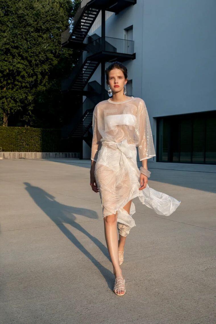 40. Modern bralette worn under a sheer dress